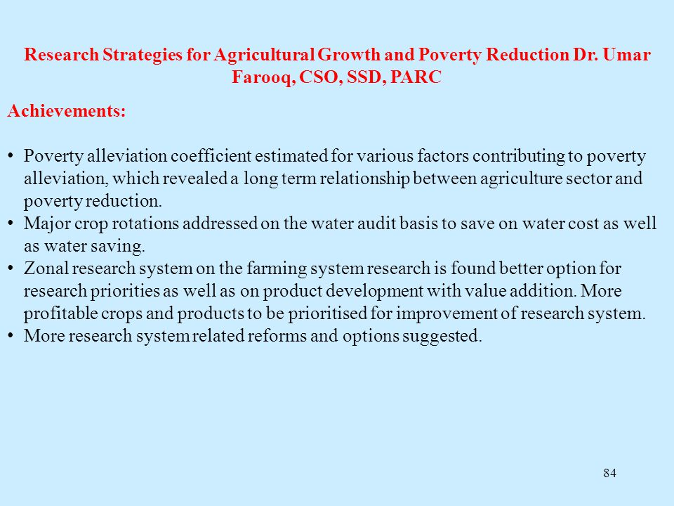 Research Strategies for Agricultural Growth and Poverty Reduction Dr