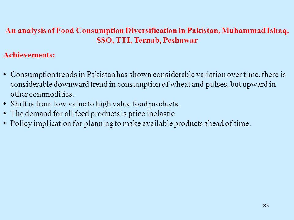 An analysis of Food Consumption Diversification in Pakistan, Muhammad Ishaq, SSO, TTI, Ternab, Peshawar
