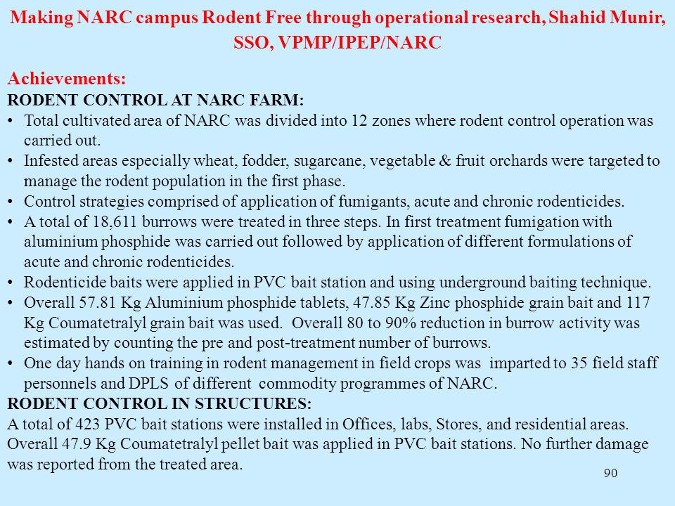 Making NARC campus Rodent Free through operational research, Shahid Munir, SSO, VPMP/IPEP/NARC