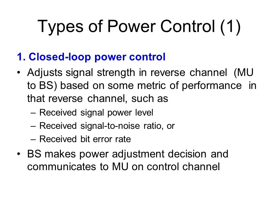 Types of Power Control (1)