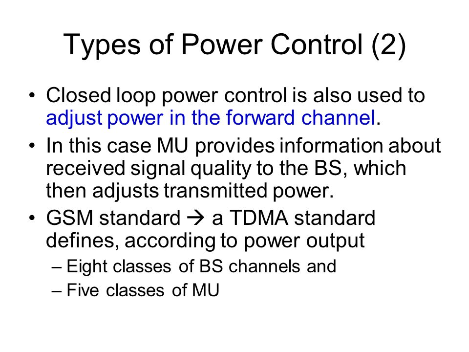 Types of Power Control (2)