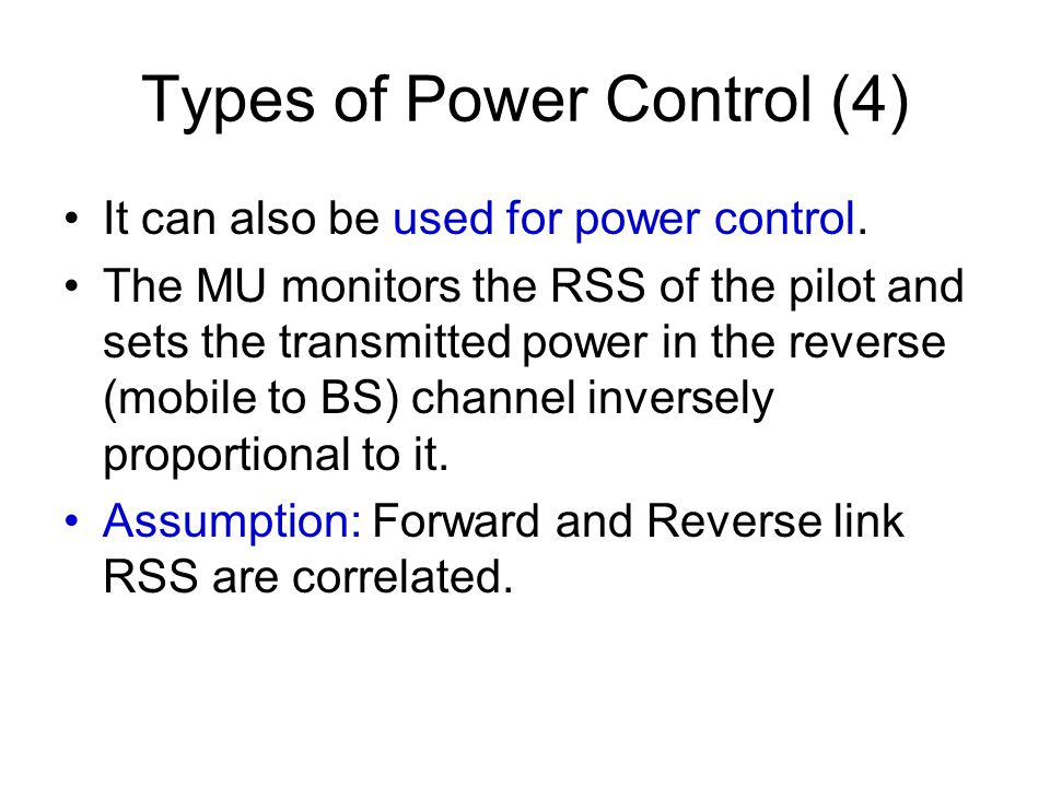 Types of Power Control (4)