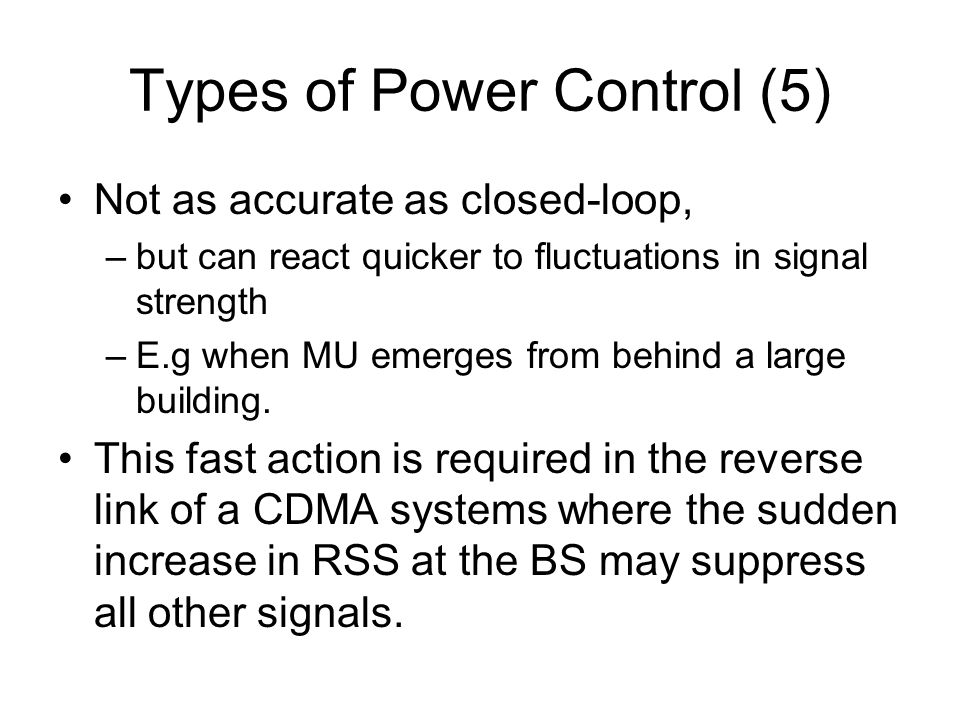 Types of Power Control (5)