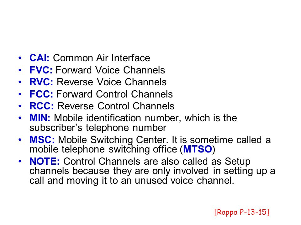 CAI: Common Air Interface FVC: Forward Voice Channels