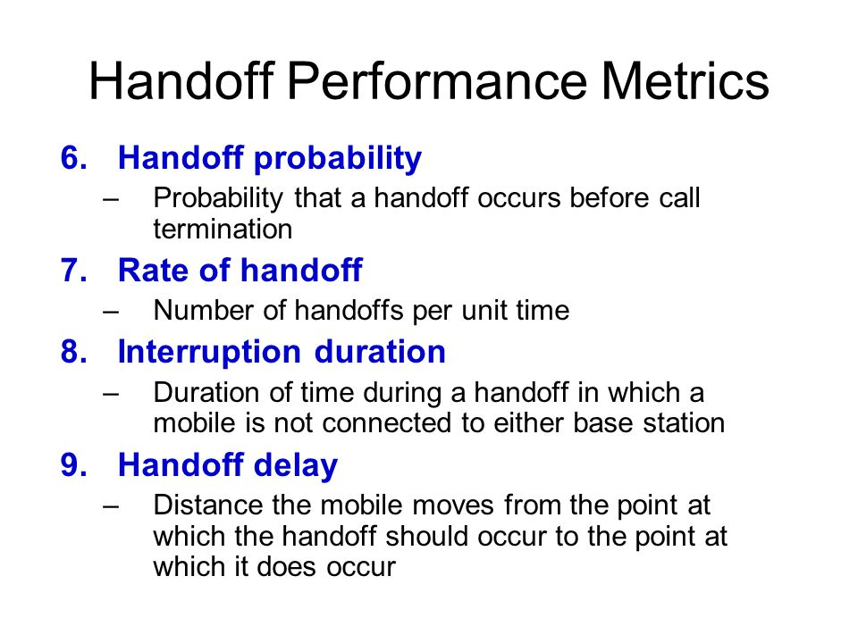 Handoff Performance Metrics