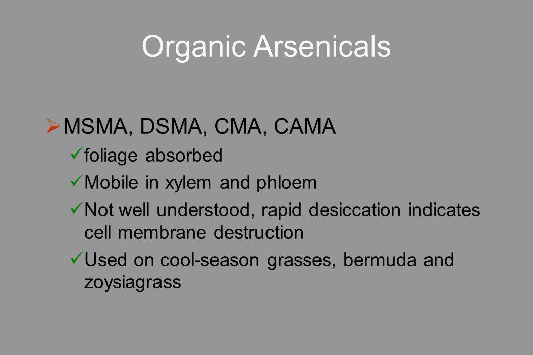 Organic Arsenicals MSMA, DSMA, CMA, CAMA foliage absorbed