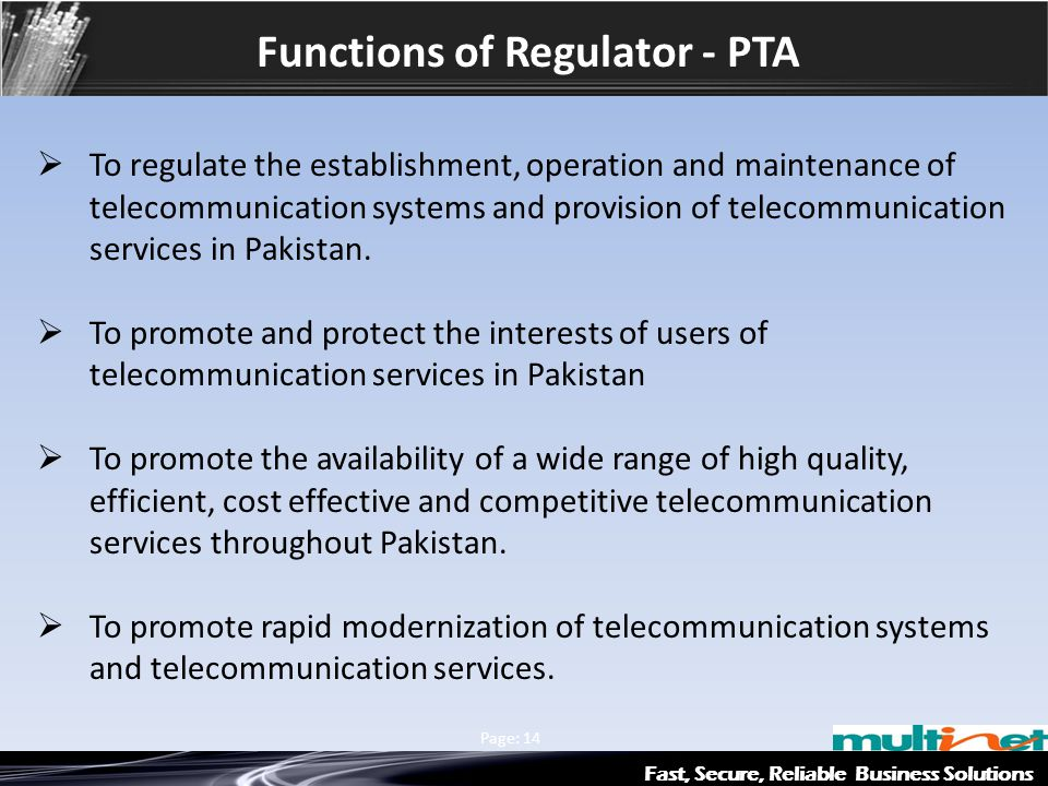 Functions of Regulator - PTA Fast, Secure, Reliable Business Solutions