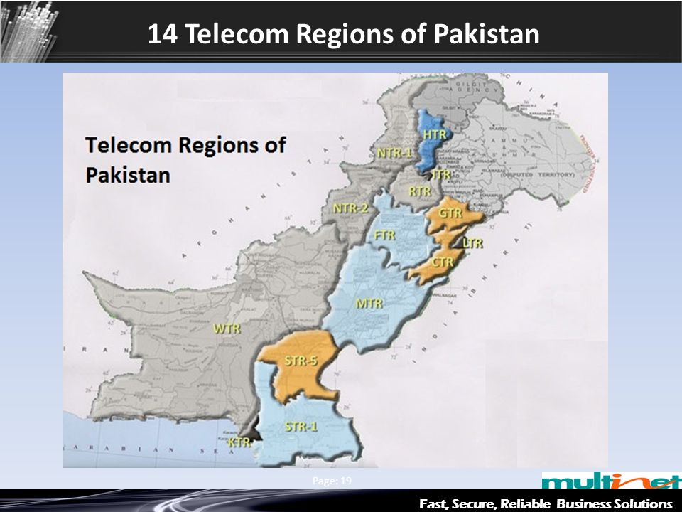 14 Telecom Regions of Pakistan