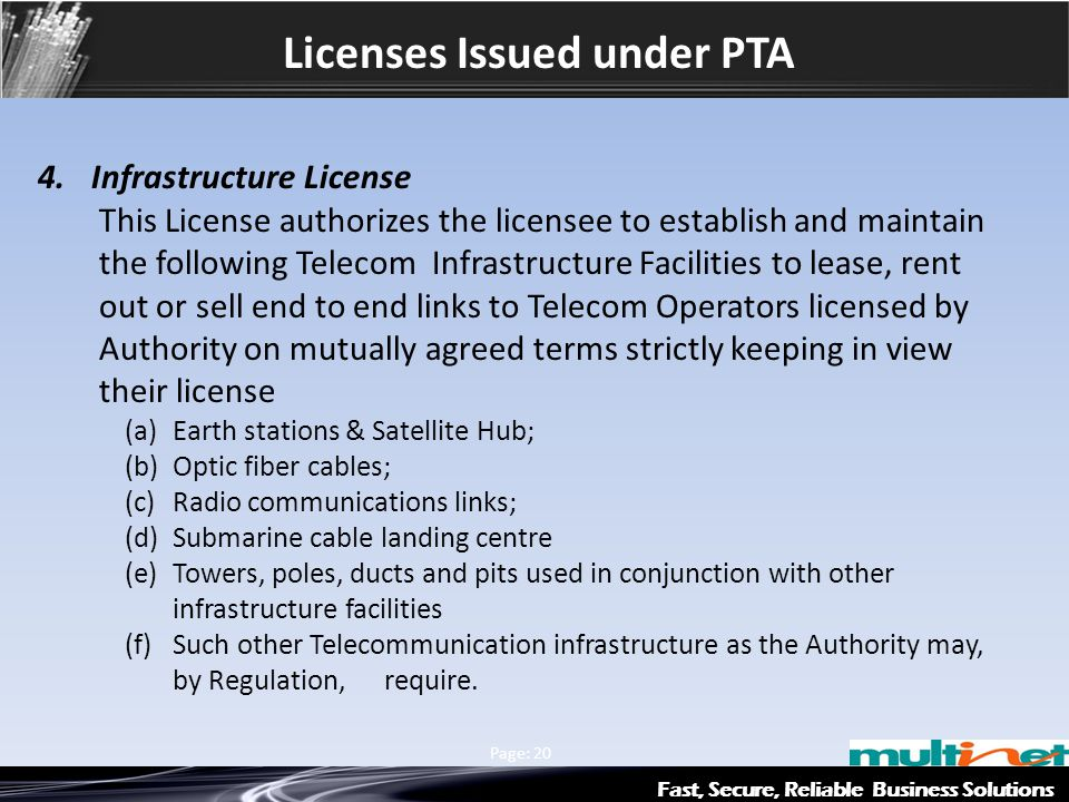 Licenses Issued under PTA Fast, Secure, Reliable Business Solutions