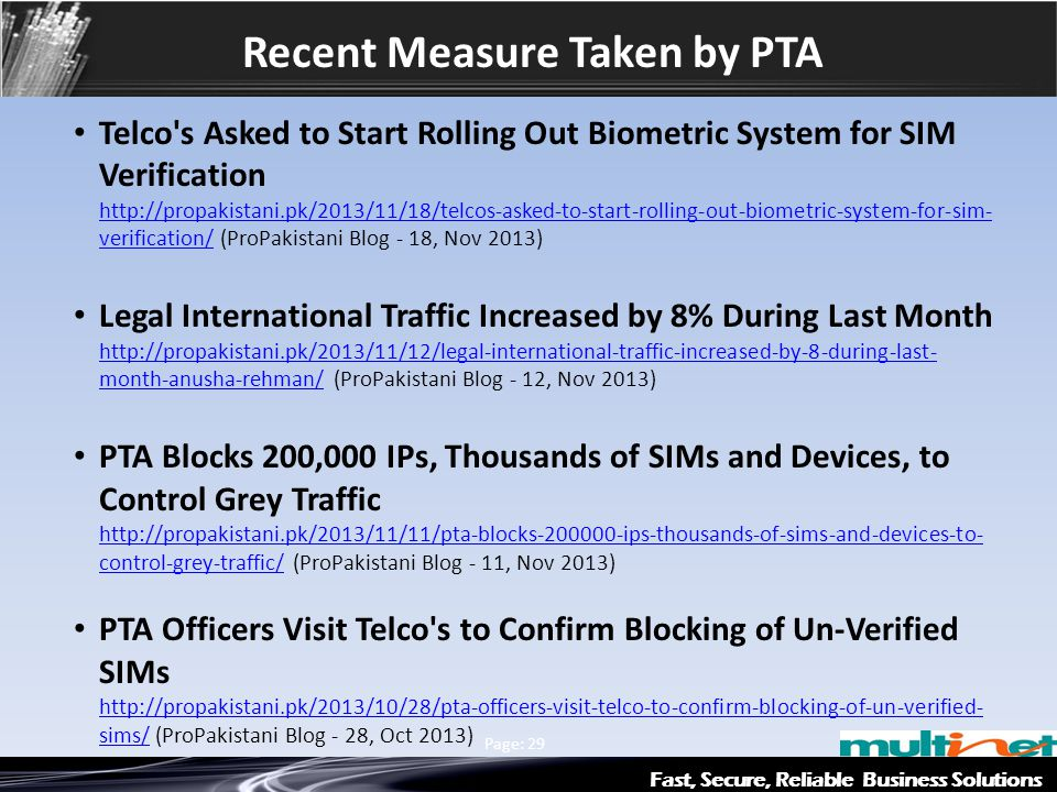 Recent Measure Taken by PTA Fast, Secure, Reliable Business Solutions