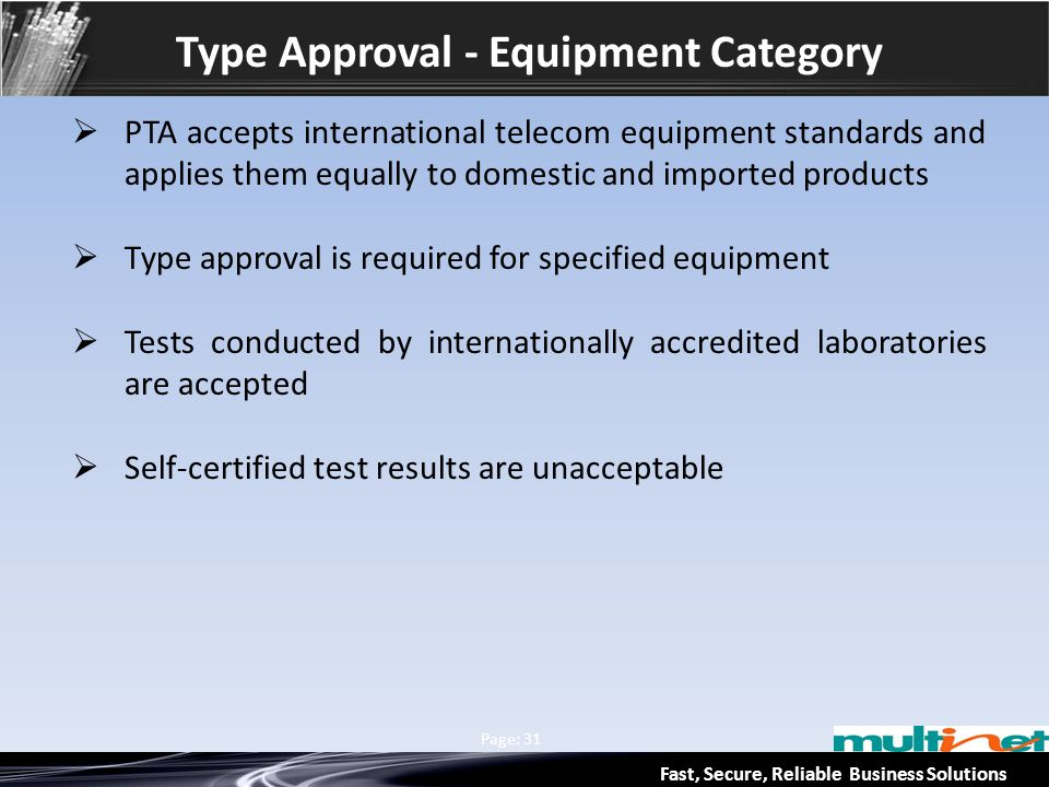Type Approval - Equipment Category