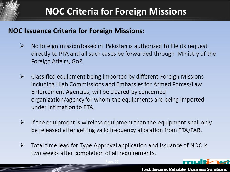 NOC Criteria for Foreign Missions
