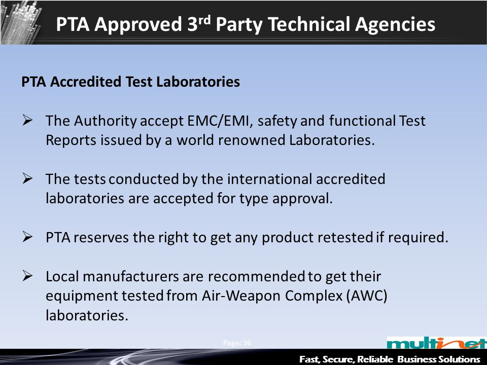 PTA Approved 3rd Party Technical Agencies