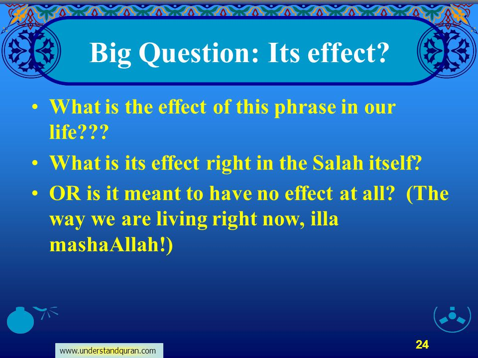 Big Question: Its effect