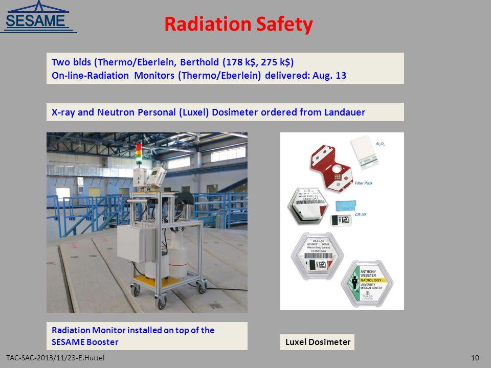 Radiation Safety Two bids (Thermo/Eberlein, Berthold (178 k$, 275 k$)
