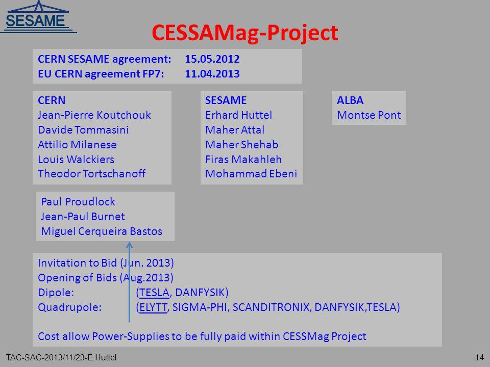 CESSAMag-Project CERN SESAME agreement: 15.05.2012
