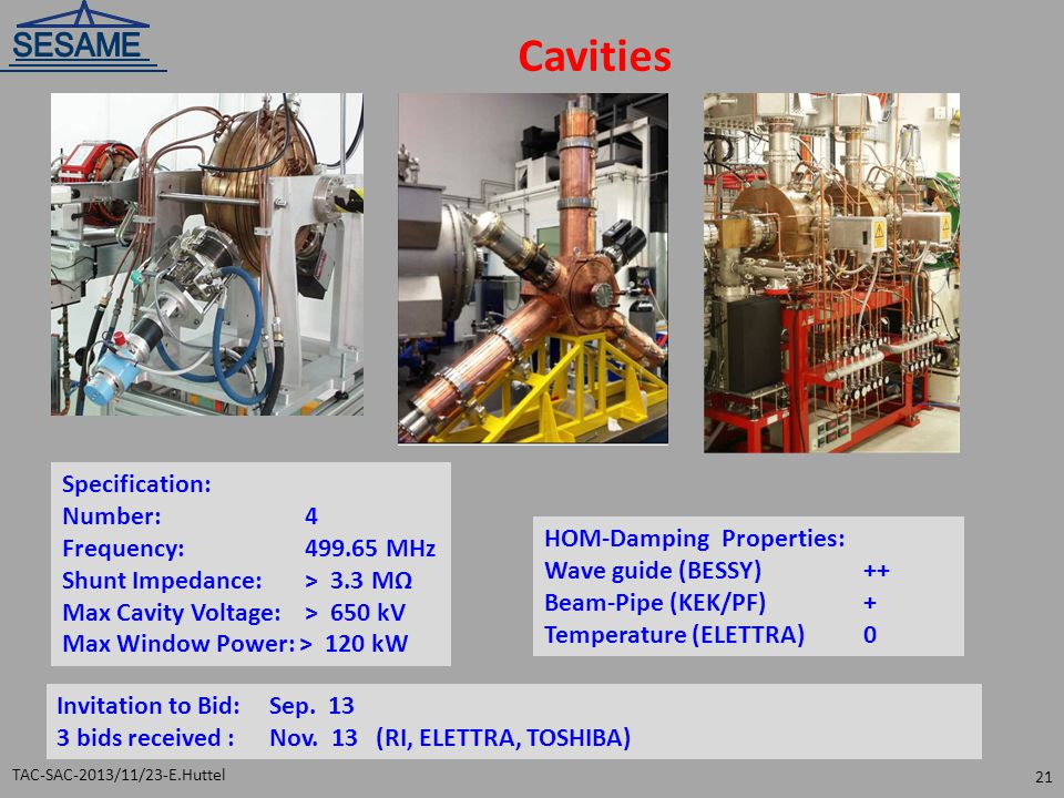Cavities Specification: Number: 4 Frequency: 499.65 MHz