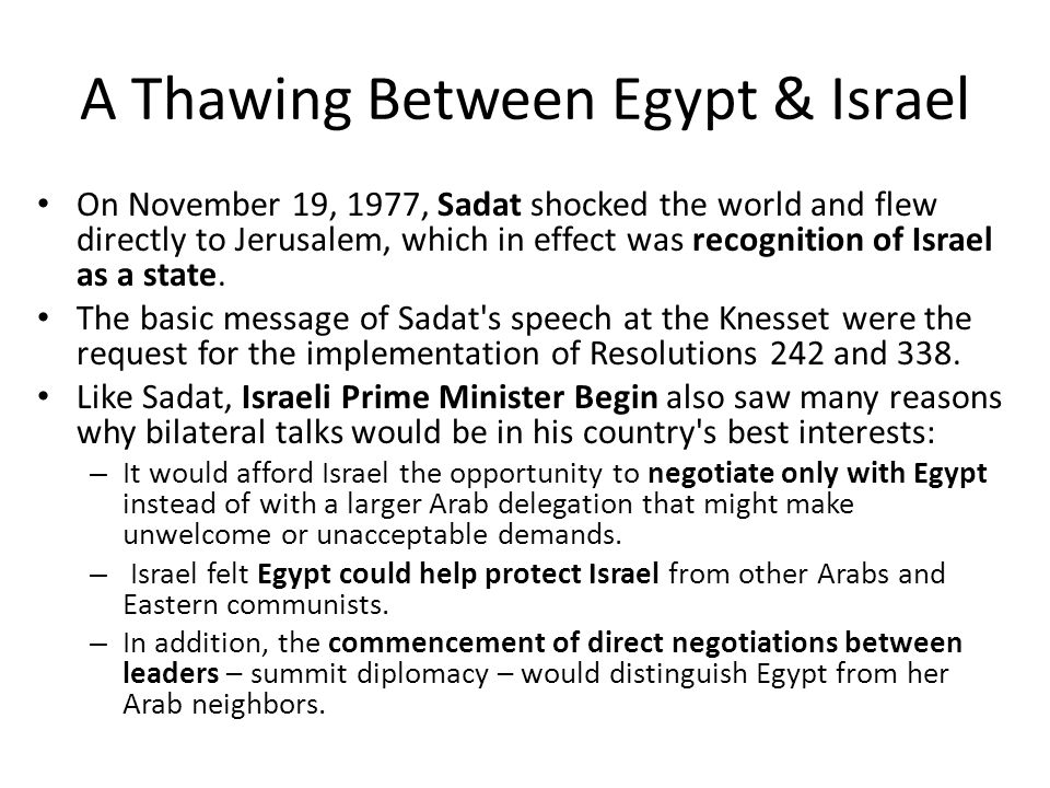 A Thawing Between Egypt & Israel