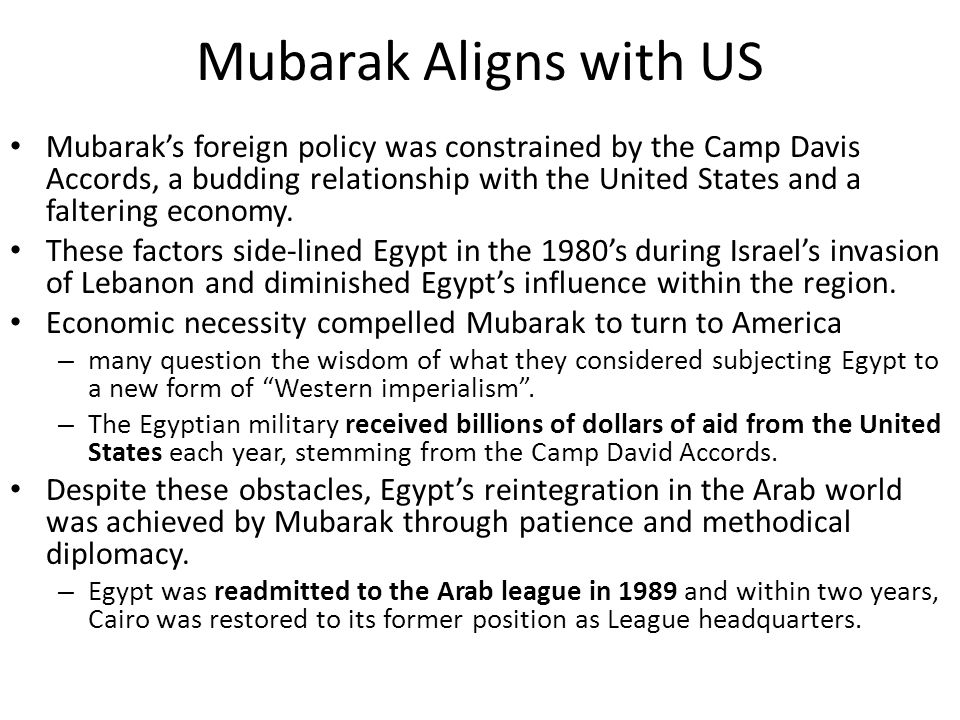 Mubarak Aligns with US