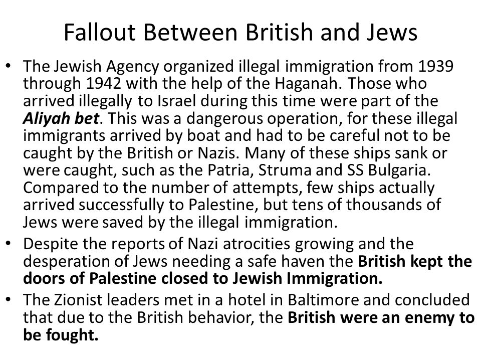 Fallout Between British and Jews