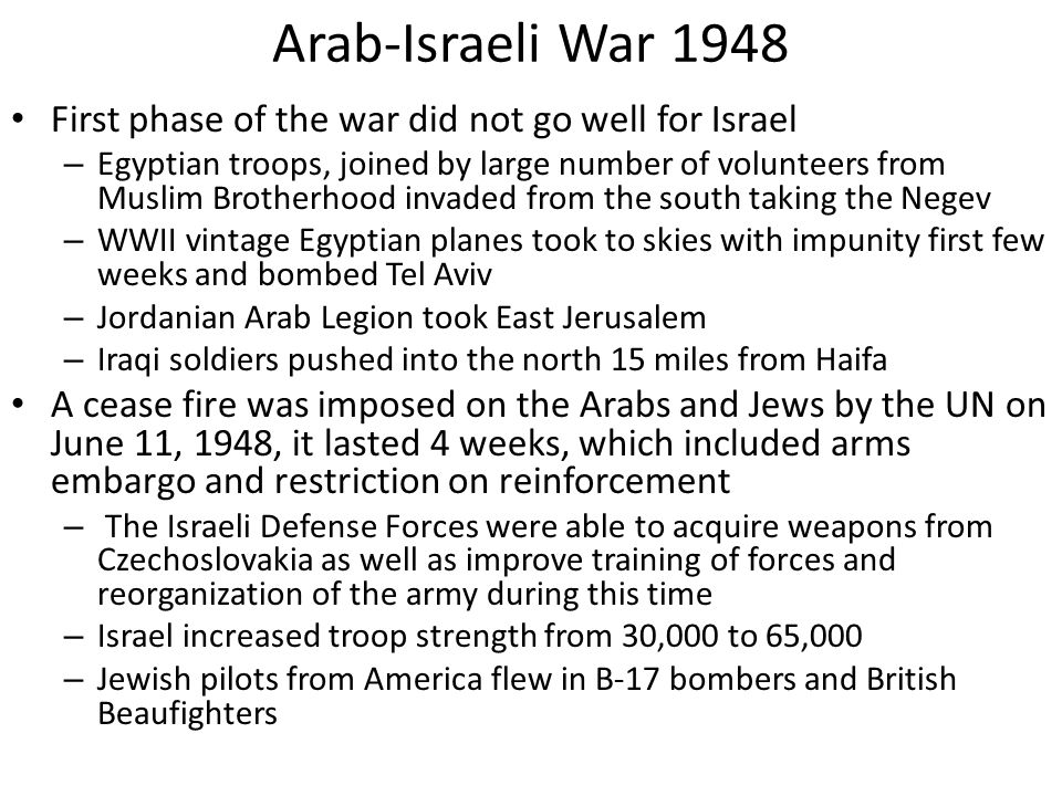 Arab-Israeli War 1948 First phase of the war did not go well for Israel.