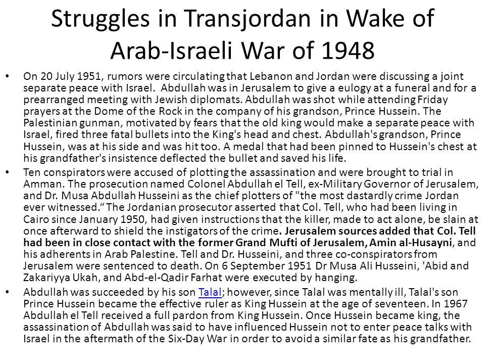 Struggles in Transjordan in Wake of Arab-Israeli War of 1948