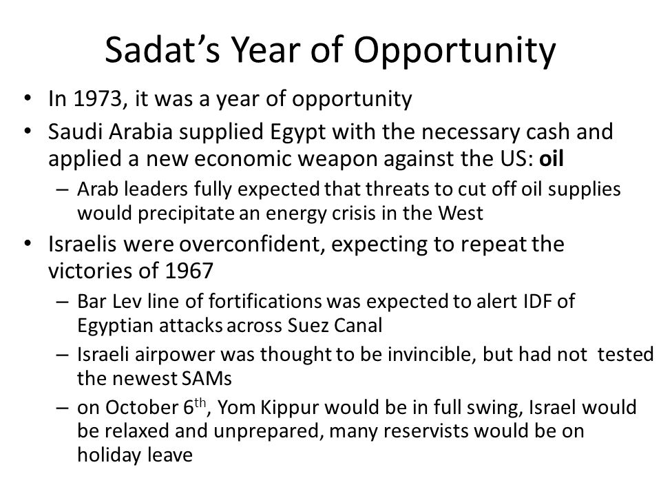 Sadat's Year of Opportunity
