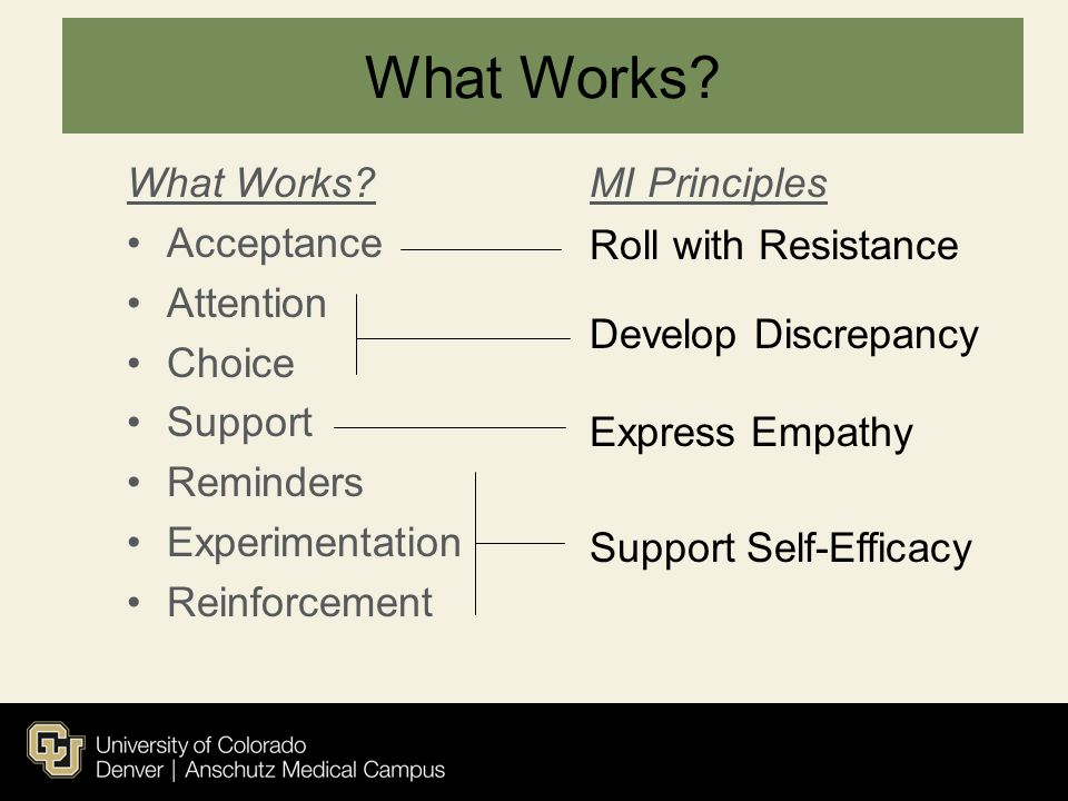 What Works What Works Acceptance Attention Choice Support Reminders