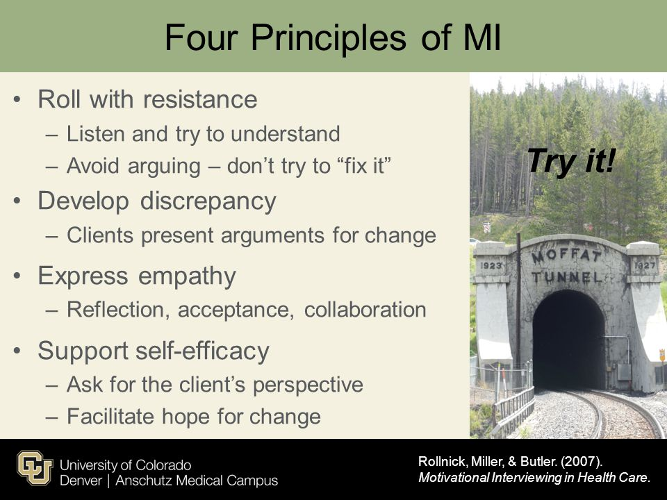 Four Principles of MI Try it! Roll with resistance Develop discrepancy