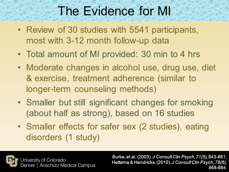The Evidence for MI Review of 30 studies with 5541 participants, most with 3-12 month follow-up data.