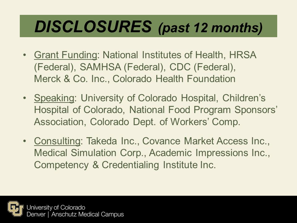 DISCLOSURES (past 12 months)