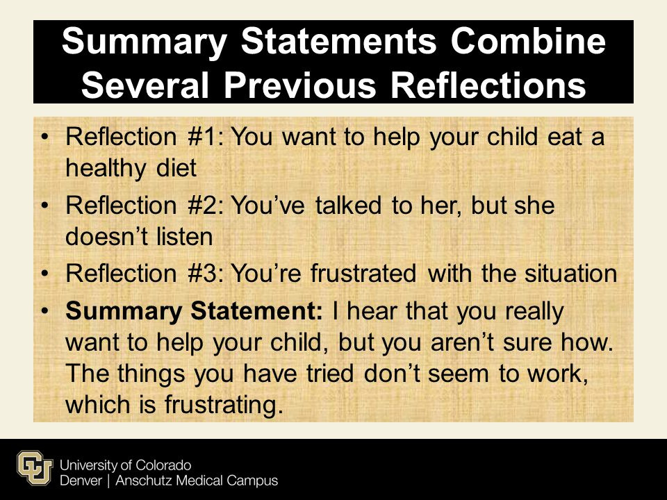 Summary Statements Combine Several Previous Reflections