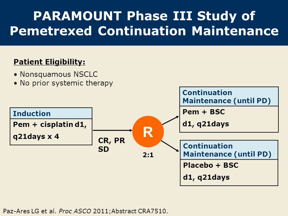 PARAMOUNT Phase III Study of Pemetrexed Continuation Maintenance