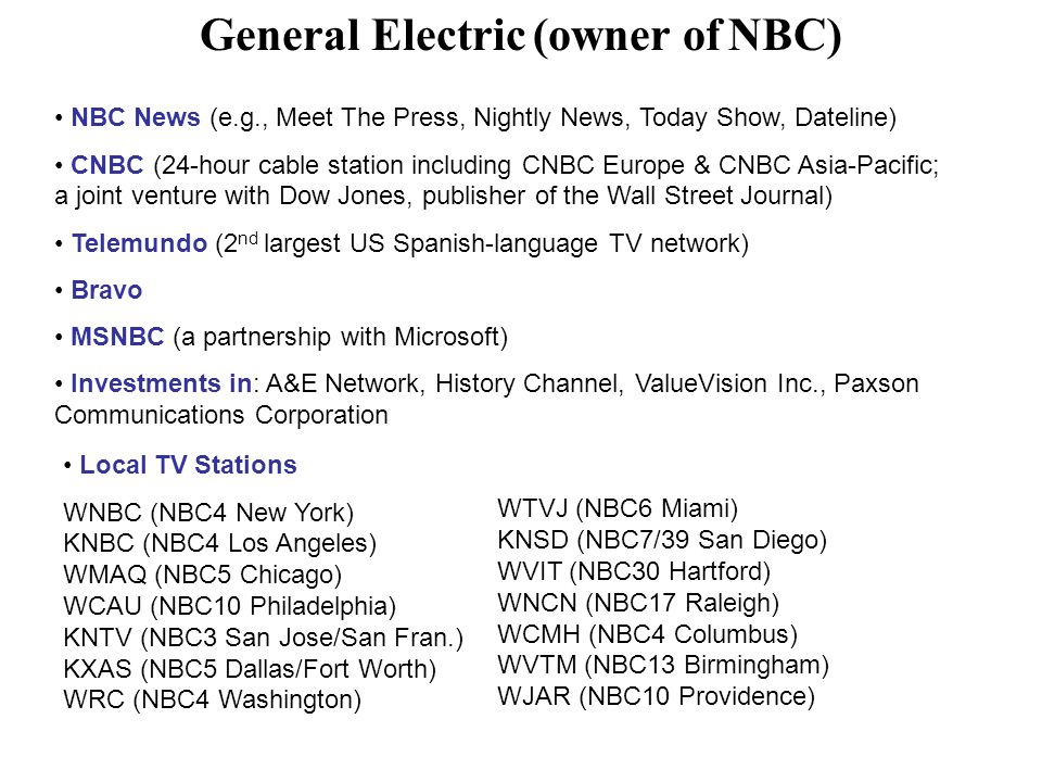 General Electric (owner of NBC)