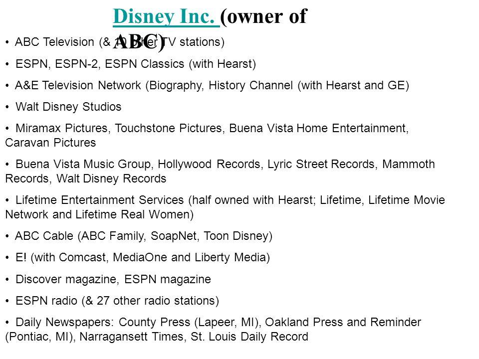 Disney Inc. (owner of ABC)