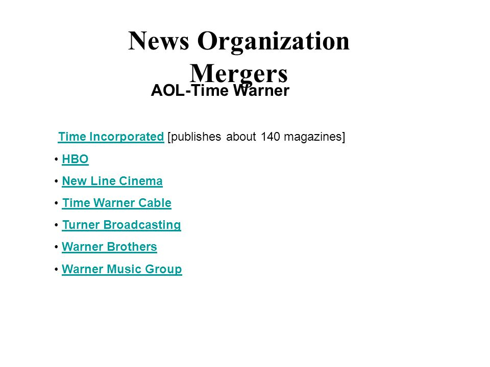 News Organization Mergers