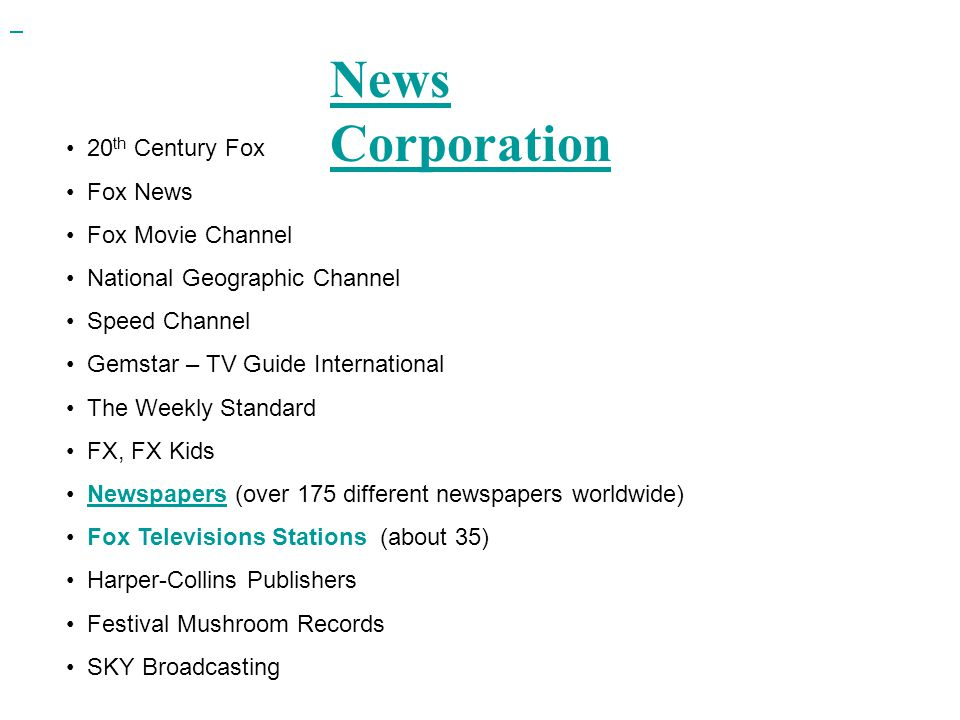 News Corporation 20th Century Fox Fox News Fox Movie Channel