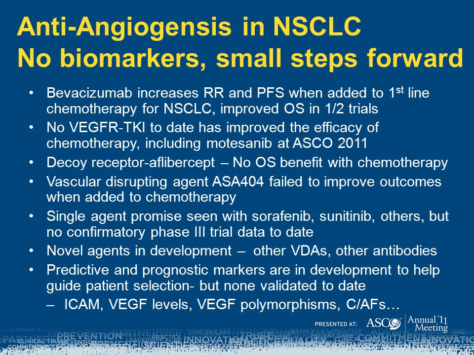 Anti-Angiogensis in NSCLC No biomarkers, small steps forward