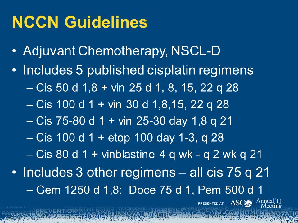 NCCN Guidelines Adjuvant Chemotherapy, NSCL-D