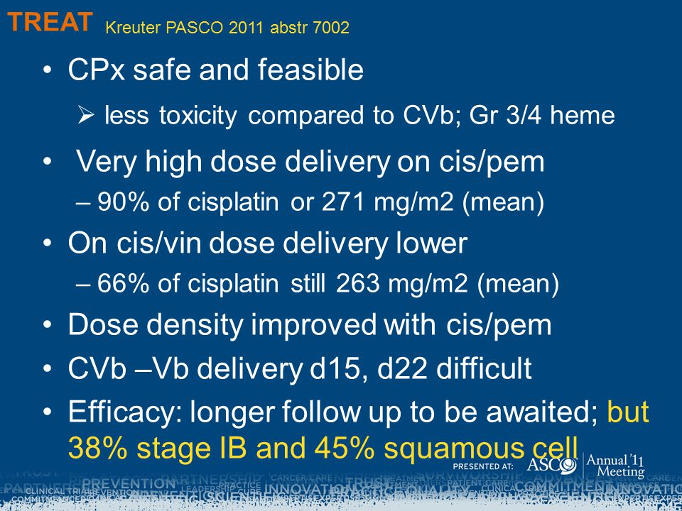 Very high dose delivery on cis/pem On cis/vin dose delivery lower