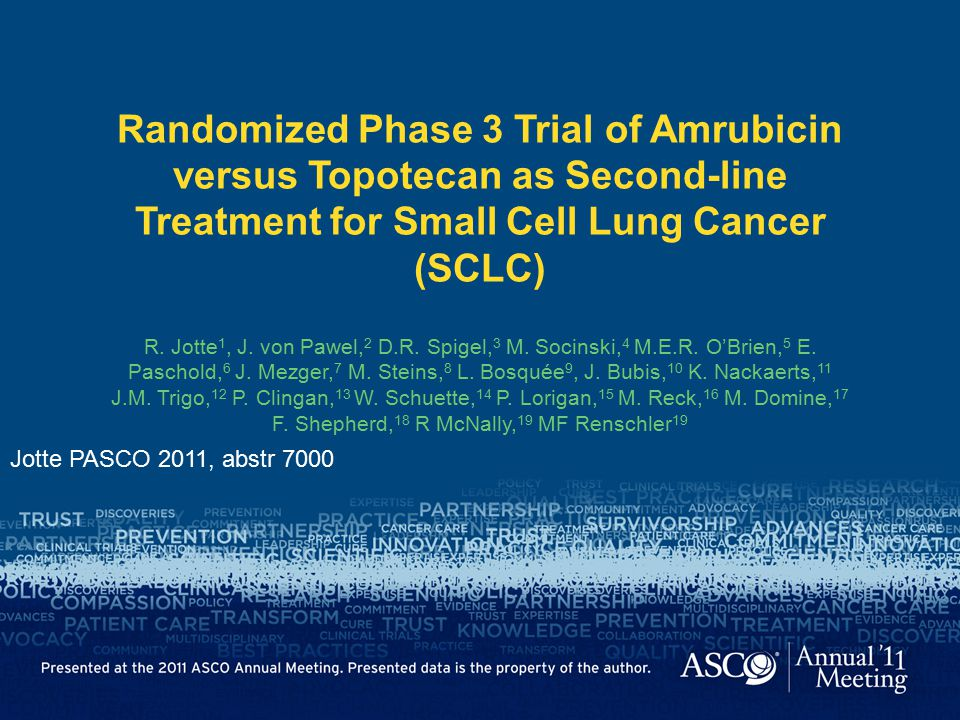 Randomized Phase 3 Trial of Amrubicin versus Topotecan as Second-line Treatment for Small Cell Lung Cancer (SCLC)
