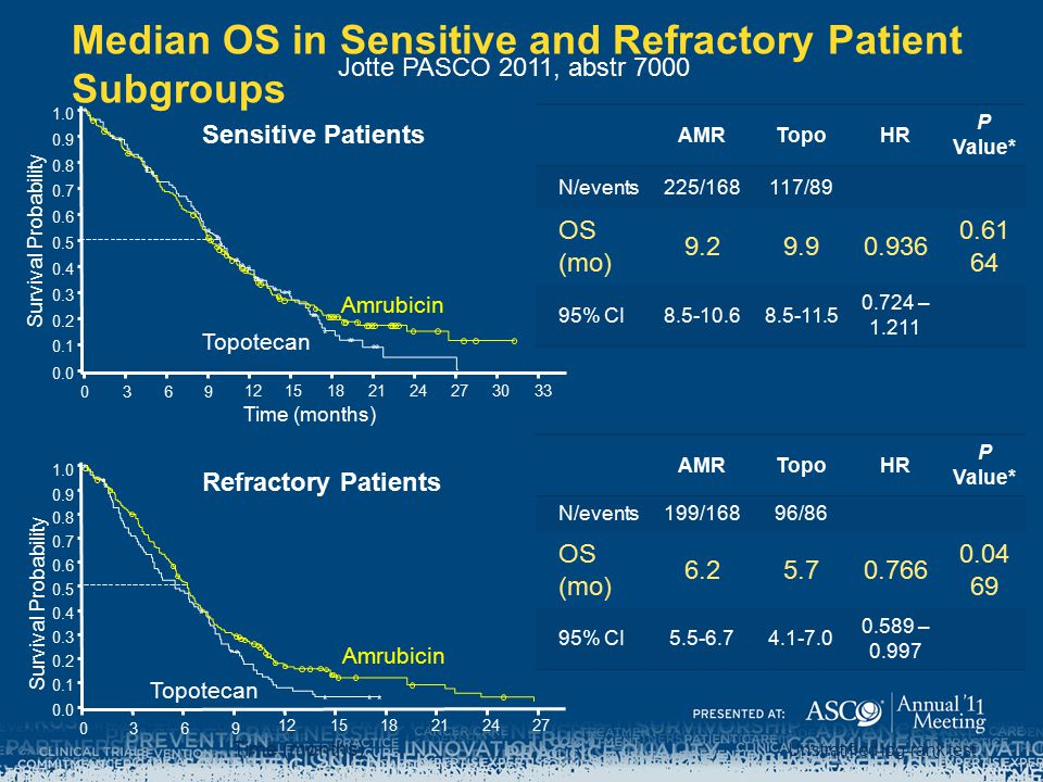 Median OS in Sensitive and Refractory Patient Subgroups