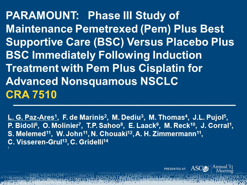 PARAMOUNT: Phase III Study of Maintenance Pemetrexed (Pem) Plus Best Supportive Care (BSC) Versus Placebo Plus BSC Immediately Following Induction Treatment with Pem Plus Cisplatin for Advanced Nonsquamous NSCLC