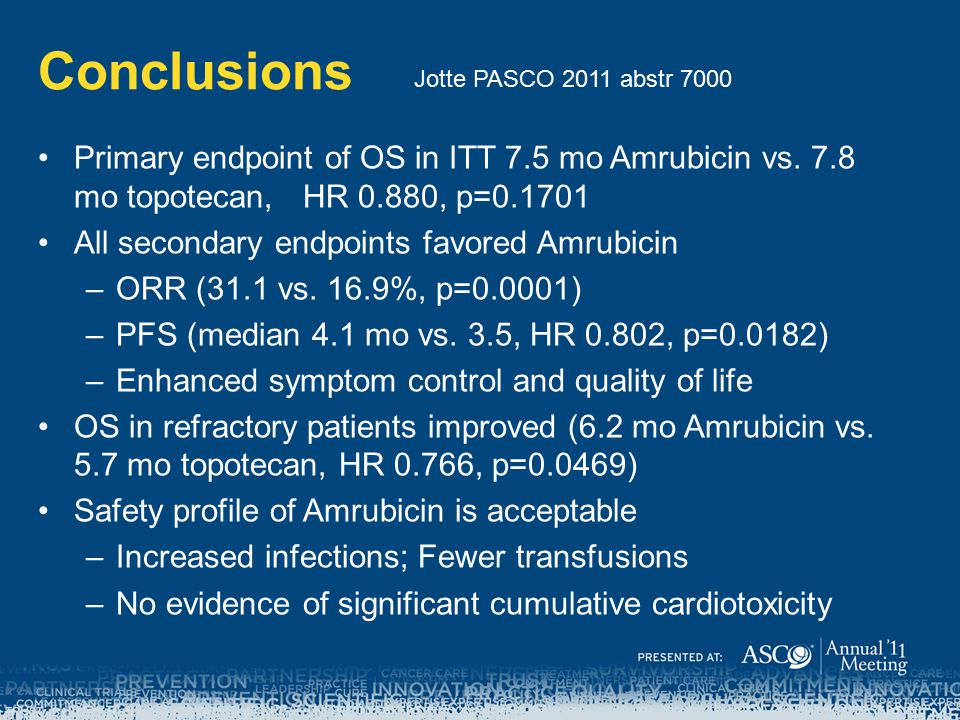 Conclusions Jotte PASCO 2011 abstr 7000. Primary endpoint of OS in ITT 7.5 mo Amrubicin vs. 7.8 mo topotecan, HR 0.880, p=0.1701.