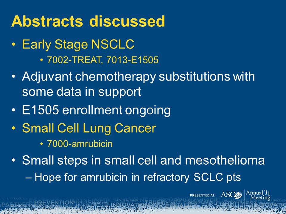 Abstracts discussed Early Stage NSCLC