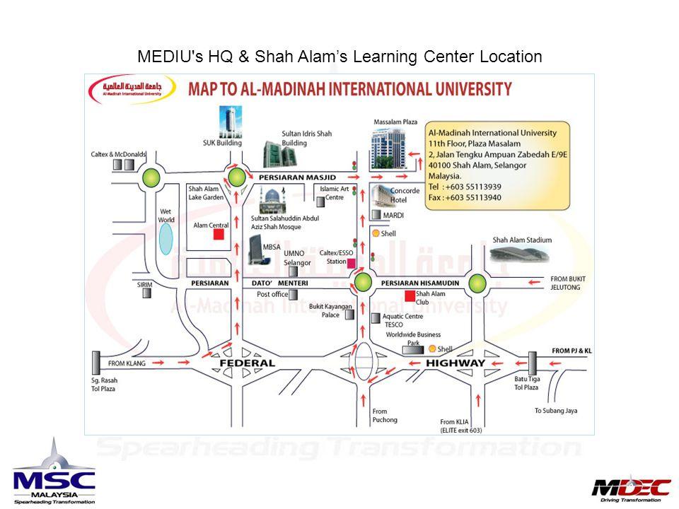 MEDIU s HQ & Shah Alam's Learning Center Location