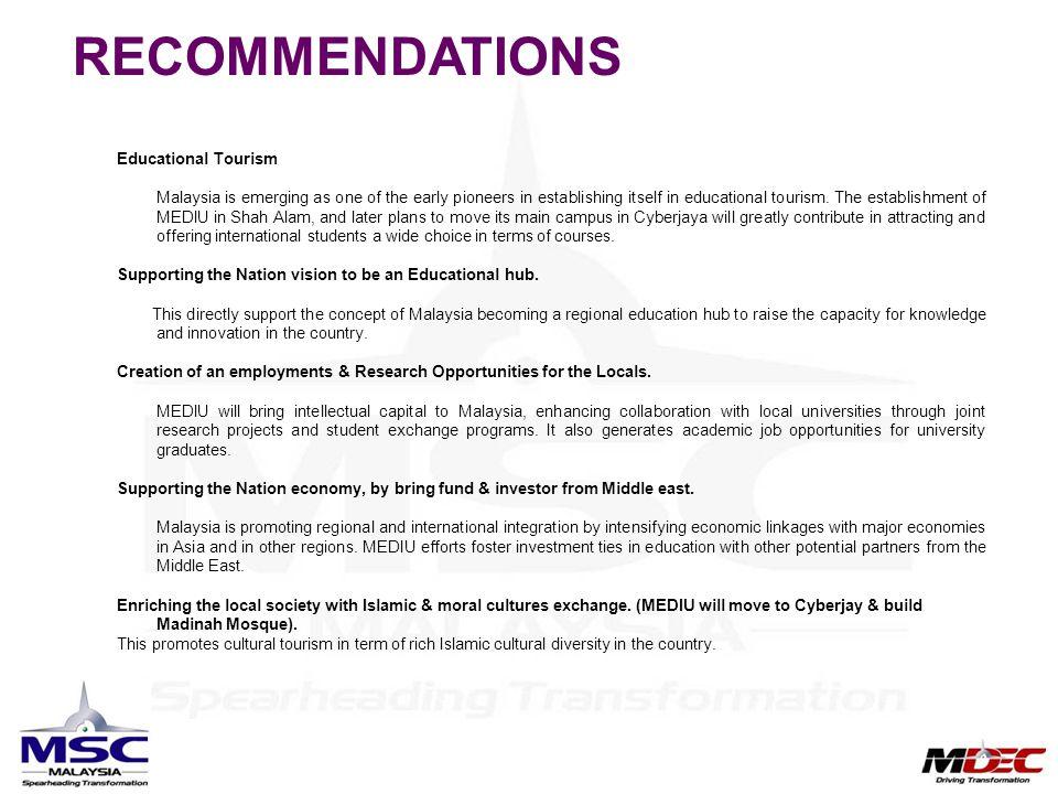 RECOMMENDATIONS Educational Tourism