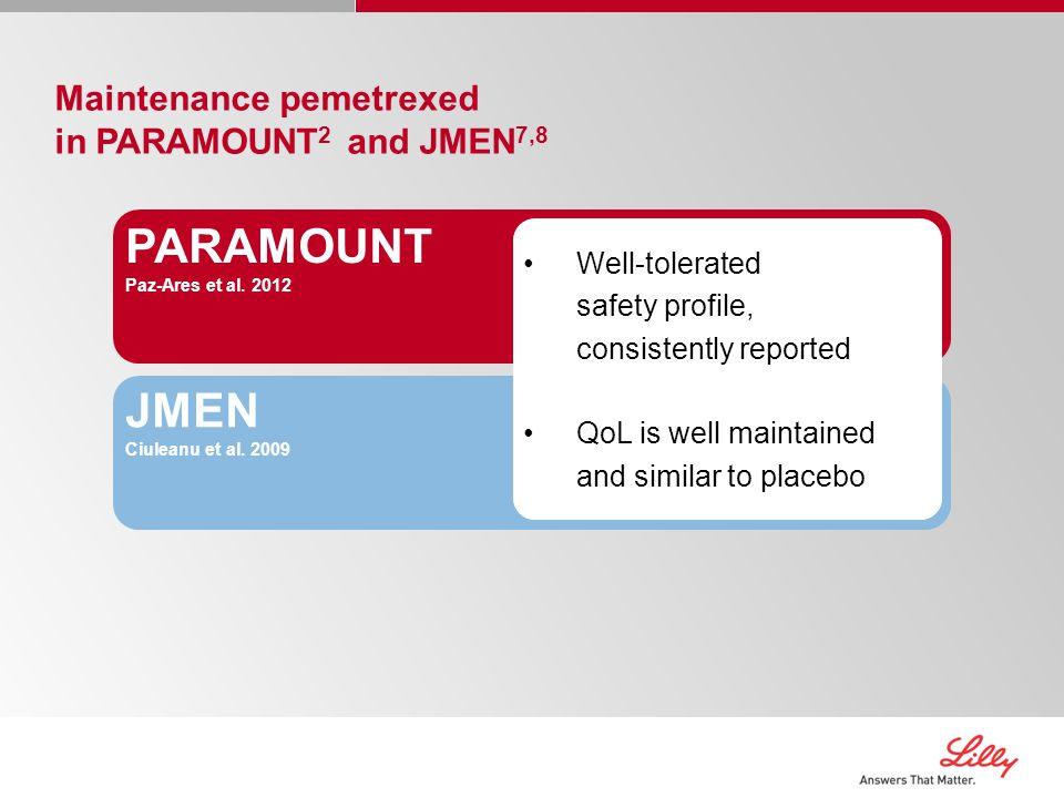 PARAMOUNT JMEN Maintenance pemetrexed in PARAMOUNT2 and JMEN7,8