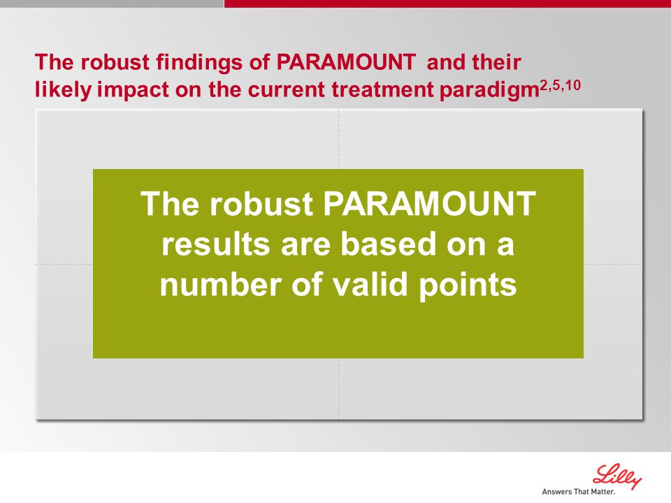 The robust PARAMOUNT results are based on a number of valid points