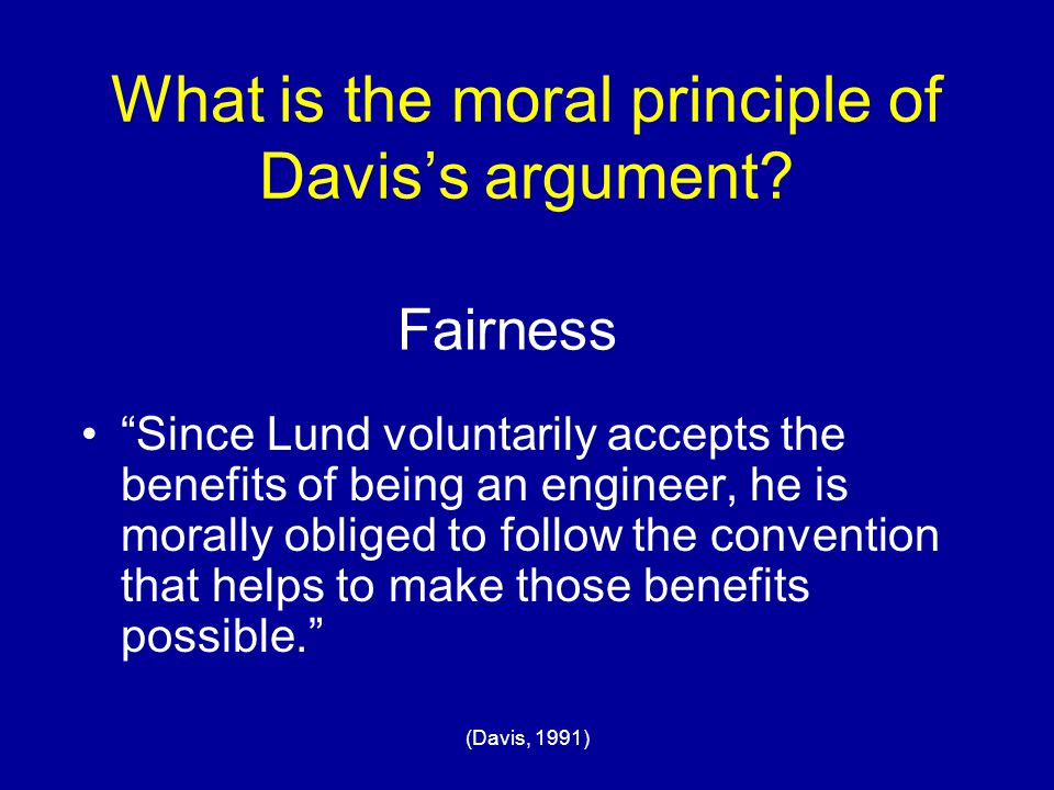 What is the moral principle of Davis's argument